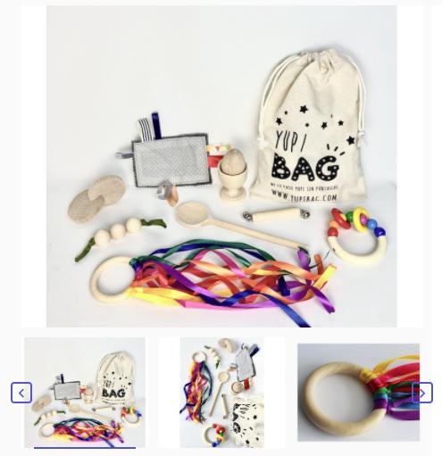 YupiBag con elementos Montessori con Anilla Arco IrisWaldorf. A partir de 6 meses.
